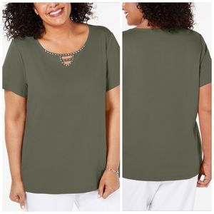 Olive Green Embellished Keyhole Top Plus Size 0X